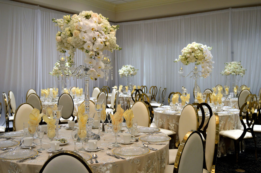 wedding banquet hall in Michigan set up with flowers