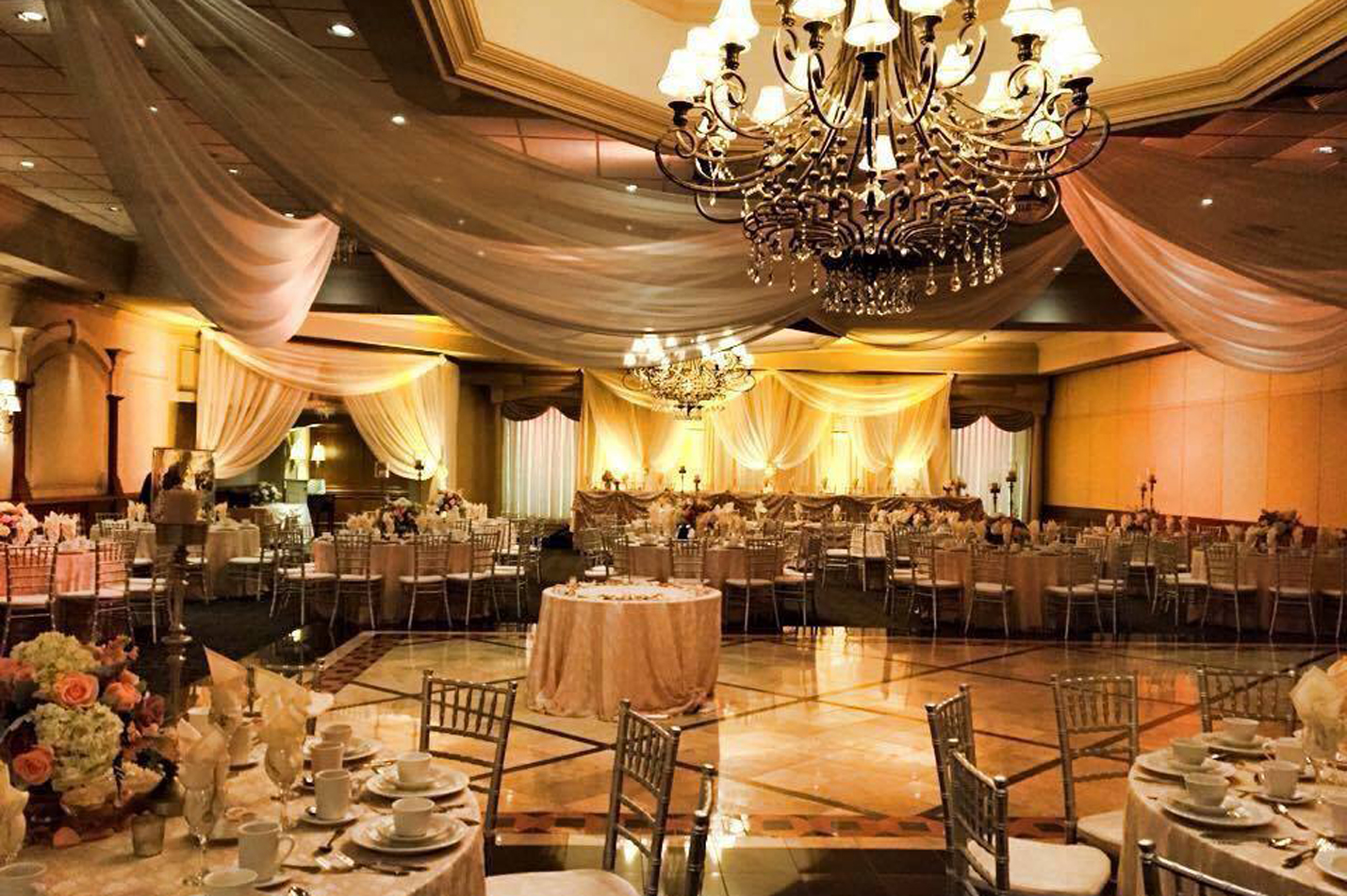 gold and orange wedding reception