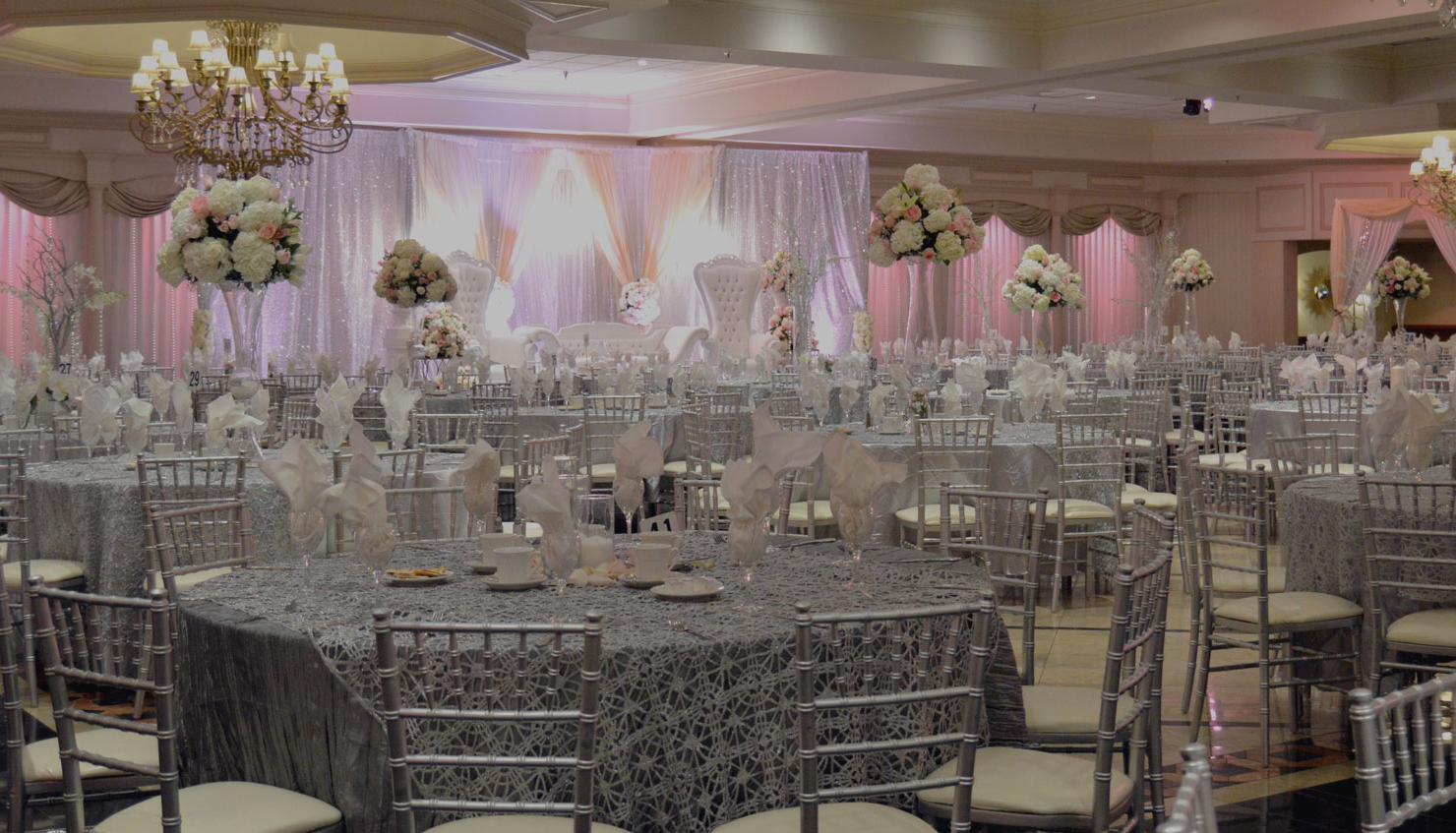 wedding banquet hall decorated in pink