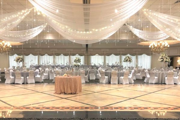 wedding banquet hall decorated in gold