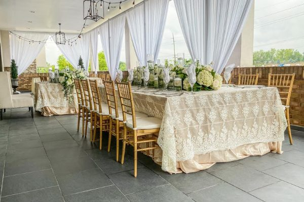 wedding banquet hall in gold colors